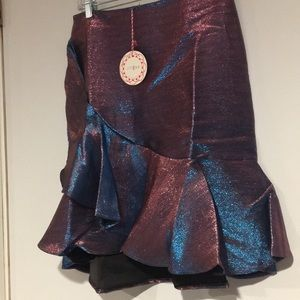 Umgee Skirts - Umgee Blue and pink iridescent ruffled skirt